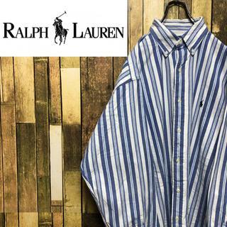Ralph Lauren - 【ラルフローレン】ワンポイント刺繍ロゴ☆アイビーストライプシャツ 90s