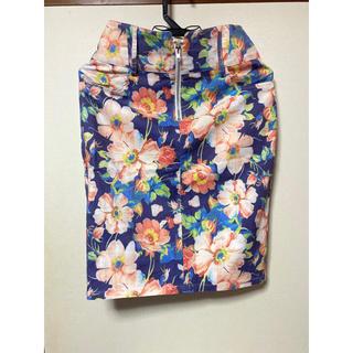 コウベレタス(神戸レタス)の花柄タイトスカート(ウエストバックゴム)(ひざ丈スカート)
