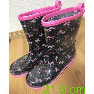 motherways - マザウェイズ 長靴  レインブーツ 21cm リボン ブラック 黒 ピンク