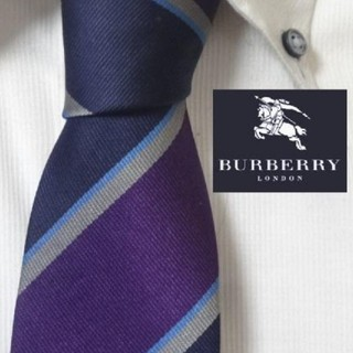 BURBERRY - 美品★バーバリーロンドン★【ホースロゴ入り正統派ストライプ】高級ネクタイ★