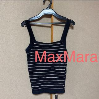 マックスマーラ(Max Mara)のMax Mara  トップス  黒  ボーダー  (カットソー(半袖/袖なし))