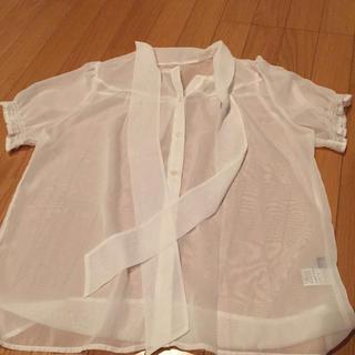 ジーユー(GU)のgu リボン付きシースルーシャツ(シャツ/ブラウス(半袖/袖なし))