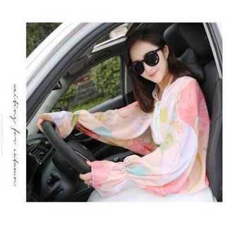 UVカット シフォンシャツ 日焼け止め ロングスリーブ カフ袖 ローズピンク(手袋)