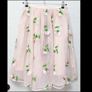 Chesty - 新品未使用タグ付き✨チェスティ✨フラワー刺繍 オーガンジー✨ミモレ丈スカート