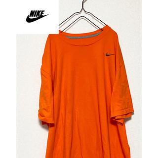 ナイキ(NIKE)の90s NIKE ナイキ Tシャツ 半袖 ワンポイント刺繍 オレンジ 4XL(Tシャツ/カットソー(半袖/袖なし))