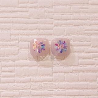 紫陽花カラー☆お花ネイル☆フットジェル
