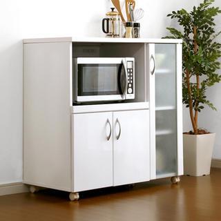 食器棚 ロータイプ レンジ台 白 ホワイト キッチン 鏡面仕上げ キャスター付き(キッチン収納)