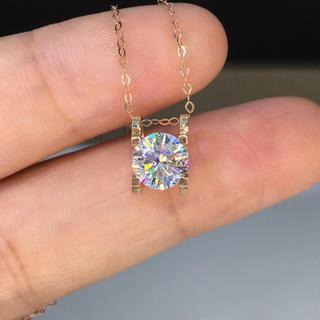【newカラー】輝く モアサナイト  ダイヤ ネックレス  k18YG(ネックレス)