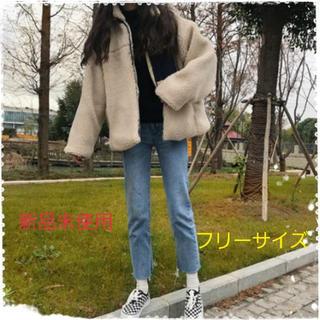 【人気爆発】ツートンカラーボアブルゾン ゆったりシルエット 防寒 フリーサイズ(ブルゾン)