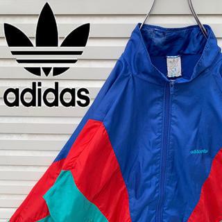 アディダス(adidas)のアディダス ナイロンジャケット バックプリント 90s ゆるダボ かわいい 希少(ナイロンジャケット)