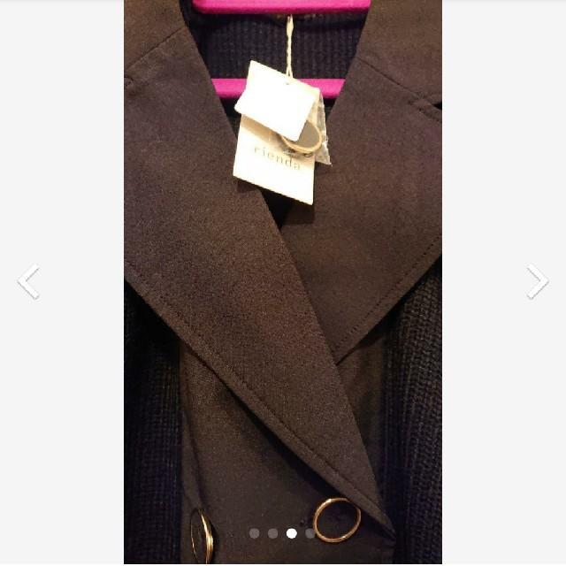 rienda(リエンダ)のrienda リエンダ knitトレンチコーディガン ブラック 黒 レディースのジャケット/アウター(トレンチコート)の商品写真