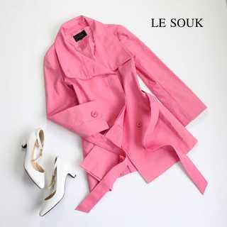 ルスーク(Le souk)のルスーク★2way ビッグカラー スプリングコート ピンク 春色 36(S)(スプリングコート)
