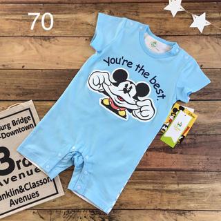 ディズニー(Disney)の【70】ミッキー 半袖 カバーオール ディズニー 水色(カバーオール)