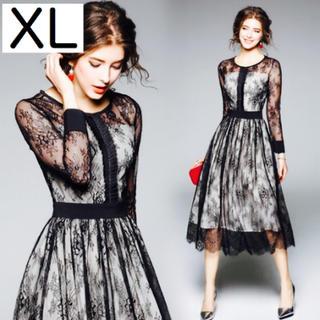 レース シースルー  黒 ワンピース ドレス ロング XL 長袖 フォーマル(ロングドレス)