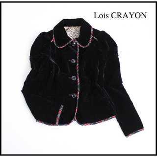 Lois CRAYON - ロイスクレヨン★ベロア チェックパイピング テーラードジャケット 艶感 M 黒