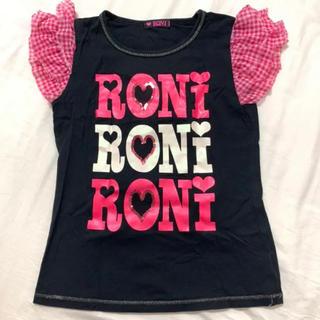 RONI - 袖フリル 黒 ピンクリボン タンクトップ Tシャツ