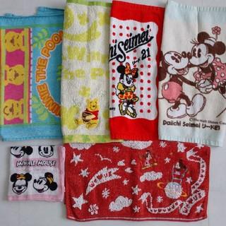 Disney - 【中古品】☆ディズニー ミニーマウス、プーさん等 ハンカチ&タオル類 6枚セット