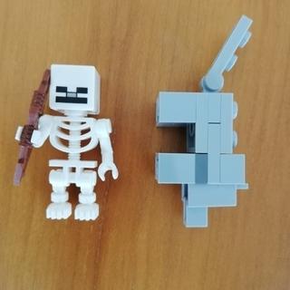 レゴ(Lego)のレゴ ミニフィグ マインクラフト スケルトン、オオカミ(キャラクターグッズ)