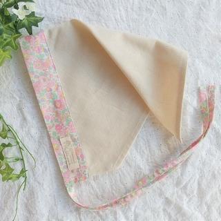 リバティ使いのひも付き三角巾(ベッツィ・ピンク系)大人用 (キッチン小物)