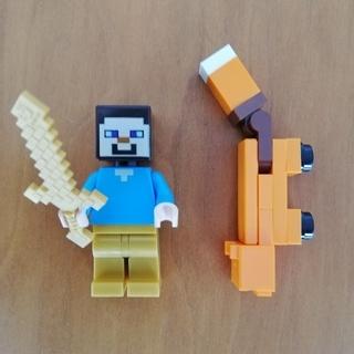 レゴ(Lego)のレゴ ミニフィグ マインクラフト スティーブ、キツネ(キャラクターグッズ)