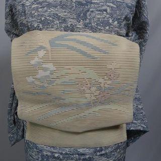 正絹 絽綴れ 草花模様織り出し名古屋帯 松葉仕立て
