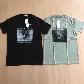 ジーユー(GU)のタイムセール‼️GU 2点まとめ売り 新品タグ付き VネックTシャツ(Tシャツ/カットソー(半袖/袖なし))
