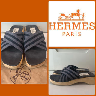 Hermes - エルメス フールトゥ ブラックキャンバス サンダル