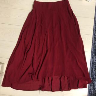 赤 スカート(ひざ丈スカート)