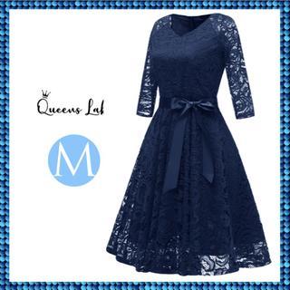 ドレス パーティードレス レディース 結婚式 七分袖 かわいい ワンピース M(ロングドレス)