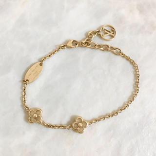LOUIS VUITTON - 正規品 ヴィトン ブレスレット フラワーフル 花 ロゴ ゴールド チェーン 金
