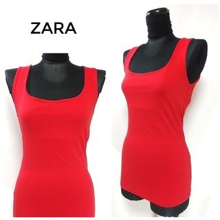ザラ(ZARA)のZARA ザラ ストレッチ ノースリーブ トップス タンクトップ 赤 レディース(タンクトップ)