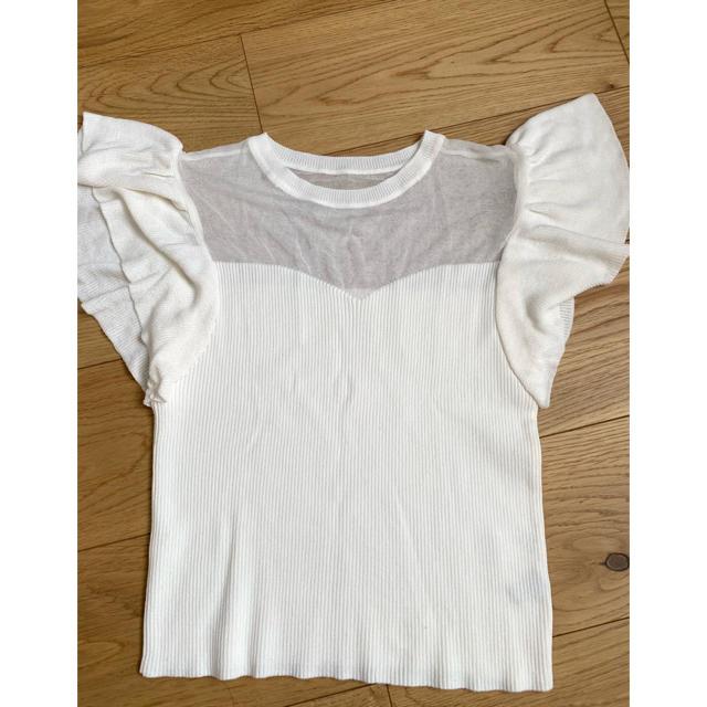 rienda(リエンダ)のリエンダ 半袖ニット シースルーシャツ レディースのトップス(シャツ/ブラウス(半袖/袖なし))の商品写真