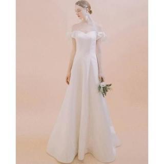 エレガント ウエディングドレス ホワイト ロング オフショルダー(ロングドレス)