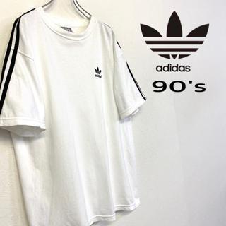 adidas - 美品 カナダ製 90's adidas Tシャツ 刺繍ロゴ×3ストライプ