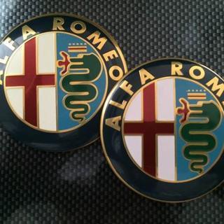 アルファロメオ(Alfa Romeo)の高品質純正仕様★アルファロメオ・エンブレム2枚セット★75mm送料0円(車種別パーツ)