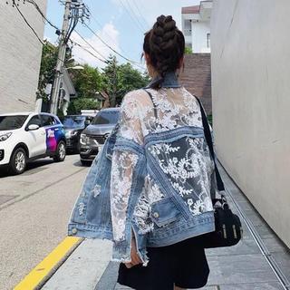 新品 レース デニムジャケット 韓国ファッション サイズフリー (Gジャン/デニムジャケット)