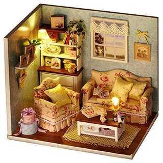木製手作りドールハウスミニチュアDIYキット - リビングルームモデル&家具/パ(模型/プラモデル)