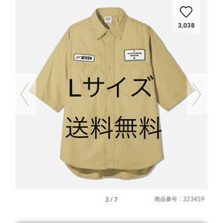 ジーユー(GU)のLサイズ ワークシャツ(5分袖)STUDIO SEVEN ベージュ(Tシャツ/カットソー(半袖/袖なし))