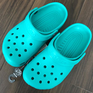 crocs - クロックス サンダル キッズ 19.5 ターコイズ グリーン