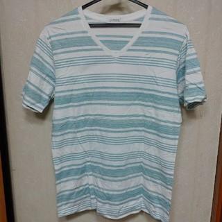 シマムラ(しまむら)の【美品】ボーダー VネックTシャツ LL(Tシャツ/カットソー(半袖/袖なし))
