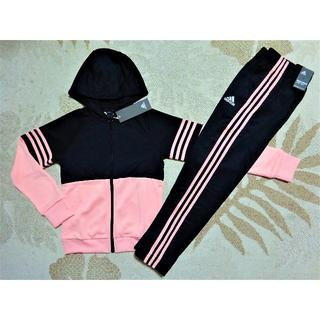 adidas - 新品♪アディダスガールズ♪120♪快適素材!!フード付きジャージ上下♪黒ピンク
