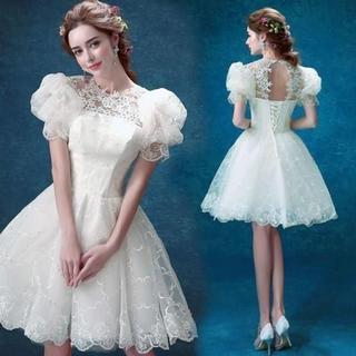 美品! ウエディングドレス ホワイト ミニドレス セクシー 花嫁/ウェディングド