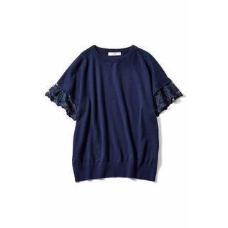 フェリシモ(FELISSIMO)の新品■ IEDIT袖レースサマーニット■キレイ目大きいサイズ(カットソー(半袖/袖なし))