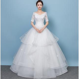 エレガント  ウエディングドレス  ロング   オフショルダー   繊細レース (ロングドレス)
