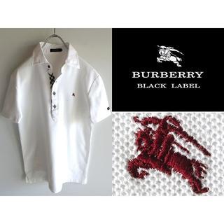 バーバリーブラックレーベル(BURBERRY BLACK LABEL)の美品 希少 バーバリーブラックレーベル ロゴ刺繍 ノバチェックテープ ポロシャツ(ポロシャツ)