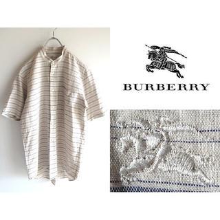 バーバリー(BURBERRY)の希少 ほぼデッドストック ビンテージ バーバリー ロゴ刺繍 バンドカラーシャツ(シャツ)