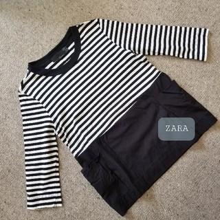 ZARA - ZARA TRF ボーダーカットソー 白×黒 S