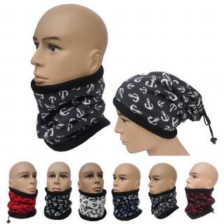 ネックウォーマー 帽子 メンズ レディース 防寒 グレー×ホワイト 2way(ネックウォーマー)
