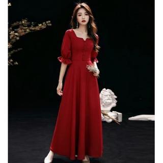 美品! イブニングドレス ワインレッド ロング 優雅なシルエット ファスナー 細(ロングドレス)