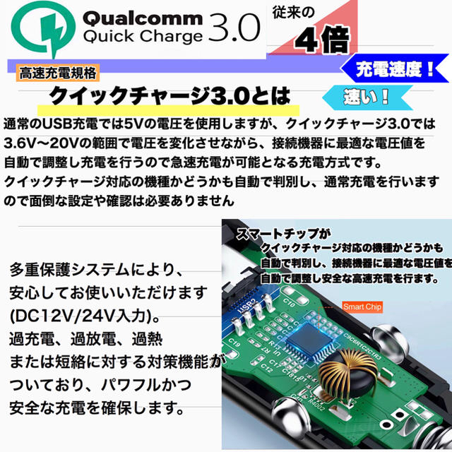 USBシガーソケット 急速充電器 ブラック 自動車/バイクの自動車(車内アクセサリ)の商品写真